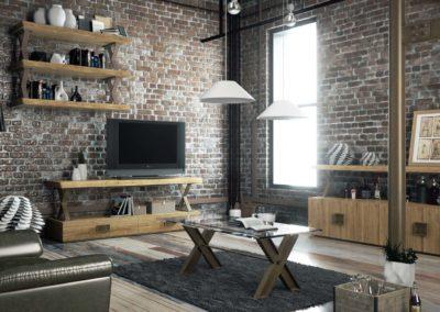 Mobiliario para  salones modernos de ambiente industrial.