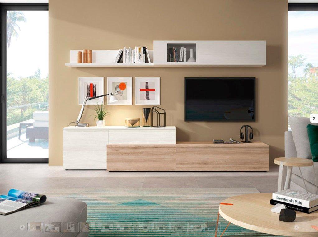 Mueble salón comedor tv | Moderno económico | Roble Blanco |