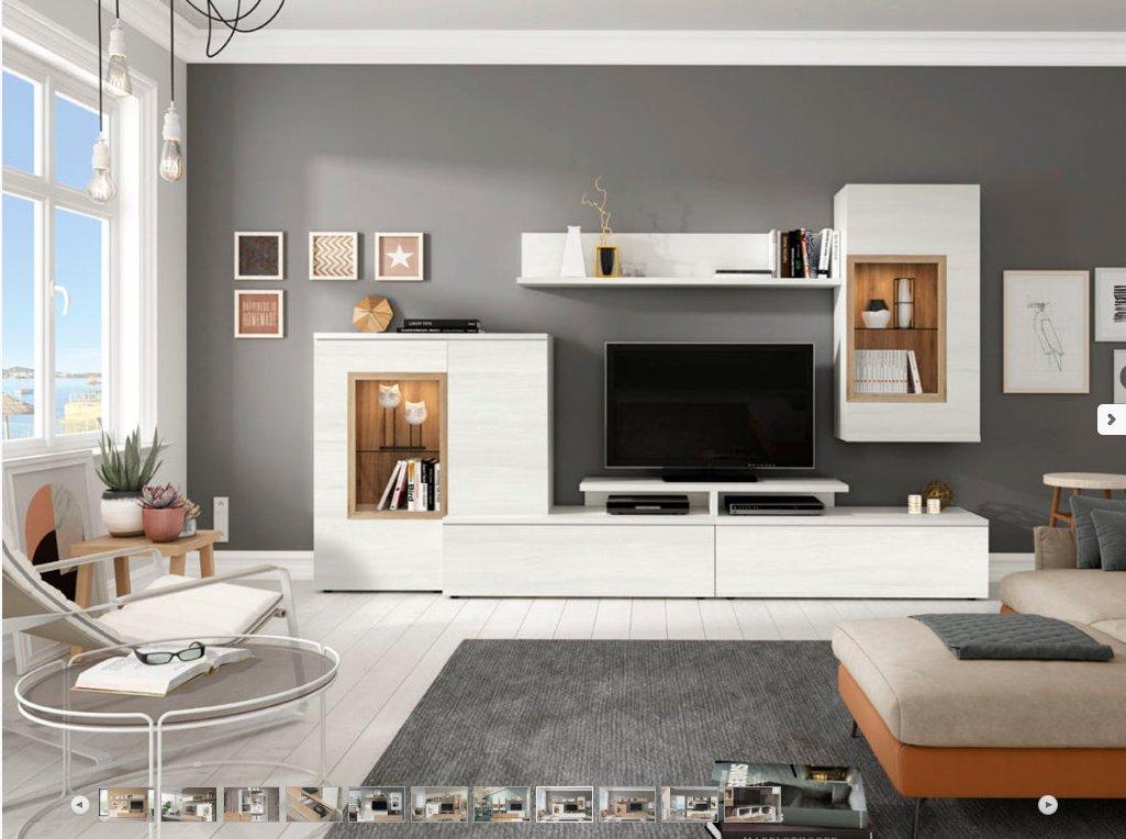 Mueble sal n comedor tv moderno econ mico roble blanco for Salon comedor completo